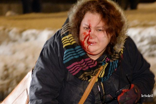 Le 24 mars, la manifestanteMartine Deraspe s'était retrouvée... (Photothèque Le Soleil, Erick Labbé)