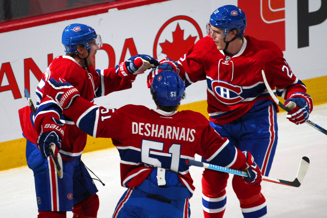 Tomas Fleischmann, David Desharnais et Dale Weise dominent... (Photo Jean-Yves Ahern, USA Today)