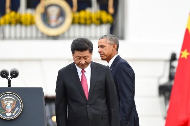 Le président Obama reçoit son homologue chinois Xi... (PHOTO JIM WATSON, AFP)