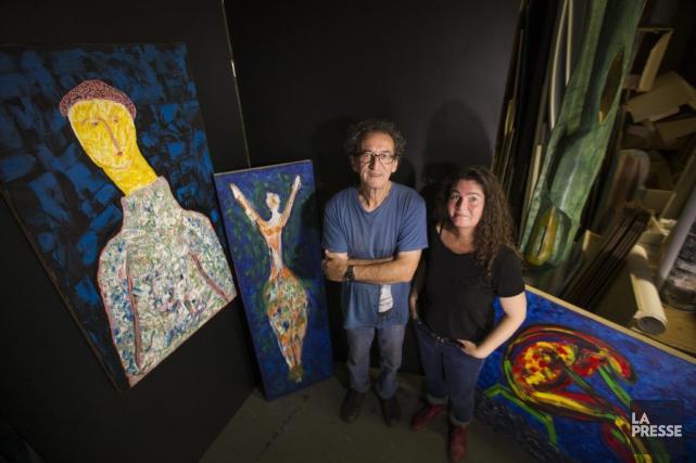 Réjean Pimparé et Nathalie Bracken préparent l'exposition L'envol,... (PHOTO IVANOH DEMERS, LA PRESSE)