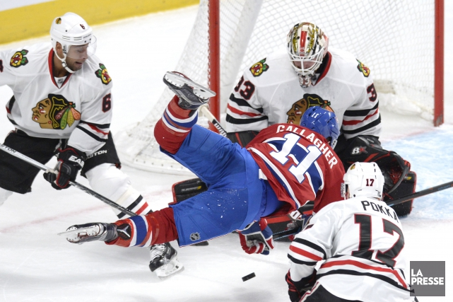 Brendan Gallagher se fait arrêter lors d'une incursion... (PHOTO BERNARD BRAULT, LA PRESSE)