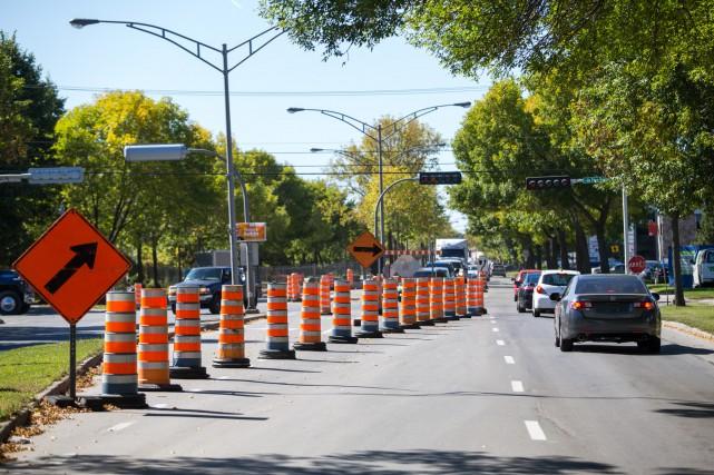 Les travaux routiers en cours sur le boulevard... (PHOTO: OLIVIER CROTEAU)
