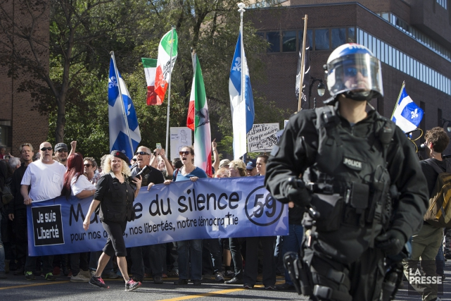 Aucun manifestant interrogé parLa Pressedurant la manifestation n'a... (Photo Robert Skinner, La Presse)