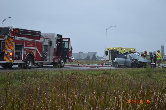Un accident sur l'autoroute 50 Ouest à la hauteur de la sortie Montée Paiement... (Courtoisie Jean-Philippe Roy)