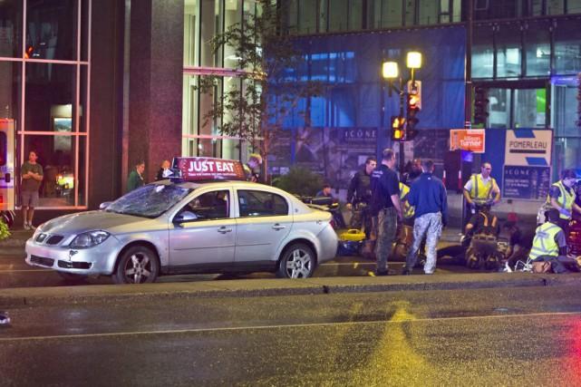 L'accident est survenu vers 3h05, sur le boulevard... (PHOTO FÉLIX O.J. FOURNIER, COLLABORATION SPECIALE)