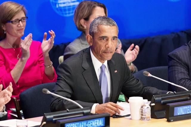 Le président américain Barack Obama, hier, lors du... (AP, Kevin Hagen)