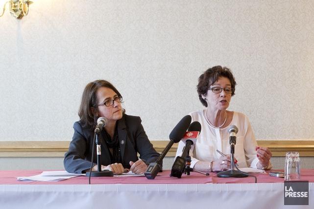 Francine Lévesque, vice-présidente de la CSN aux côté... (Robert Skinner, Archives La Presse)