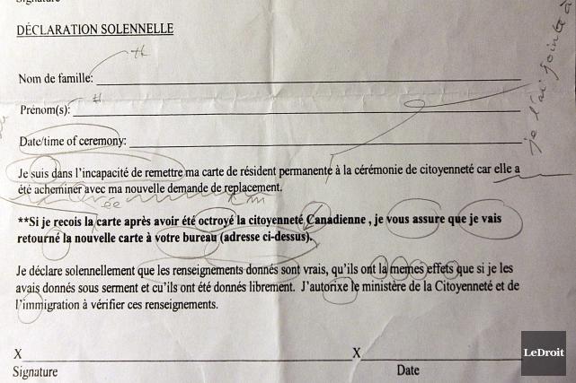 La déclaration solennelle était remise à certains candidats... (Etienne Ranger, LeDroit)