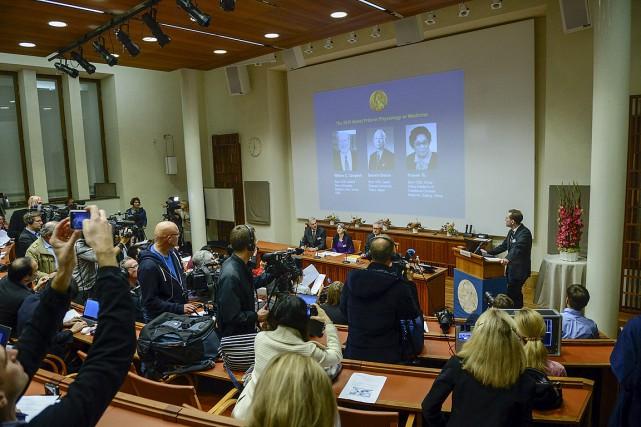 «Les lauréats du prix Nobel cette année ont... (Photo Fredrik Sandberg, Reuters)