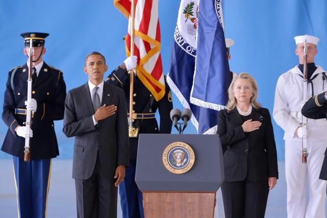 Le président Barack Obama et sa secrétaire d'État... (PHOTO JEWEL SAMAD, ARCHIVES AFP)