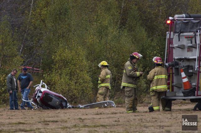 Un hélicoptére de construction artisanale s'est écrasé jeudi... (Olivier Croteau)