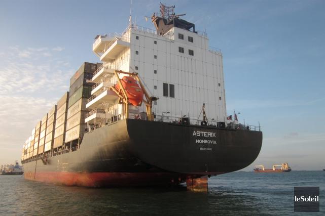 Le MS Astérix, porte-conteneurs construit en Allemagne, sera... (Photothèque Le Soleil)