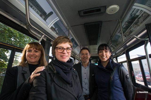 Dans l'ordre: Ginette Bellemare, Isabelle Ayotte, Marc Levasseur... (Photo: Olivier Croteau Le Nouvelliste)