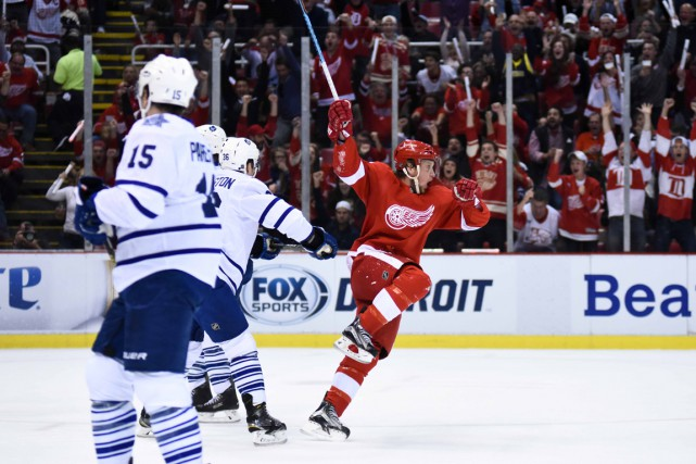 Justin Abdelkader a signé un tour du chapeau alors que les Red Wings de Detroit... (Photo USA Today Sports)