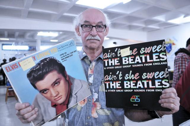 Ces albums d'Elvis Presley et des Beatles sont... (Photo Le Progrès-Dimanche, Rocket Lavoie)