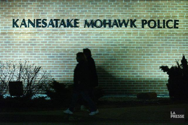 L'ancien poste de police de Kanesatake a été la proie des flammes lundi matin,... (Photo Patrick Sanfaçon, archives La Presse)