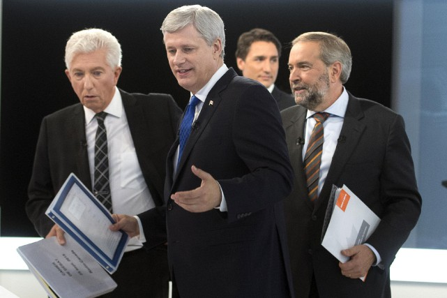 Les chefs Justin Trudeau, Thomas Mulcair et Gilles... (Photo Ryan Remiorz, Reuters)