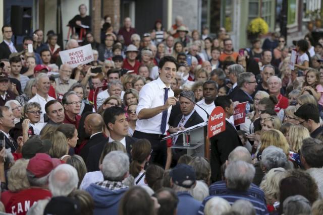 Justin Trudeau à Port Hope, en Ontario....