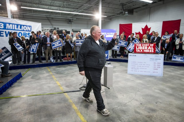 L'ancien maire de Toronto, Rob Ford, était en... (PHOTO REUTERS)