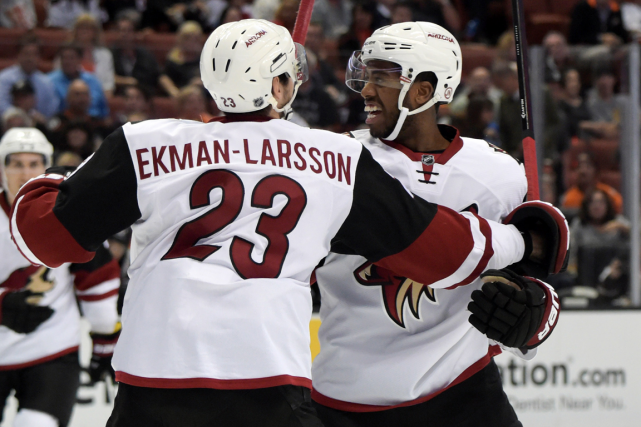 Anthony Duclair (à droite) célèbre avec son coéquipier... (Photo Kirby Lee, USA Today)