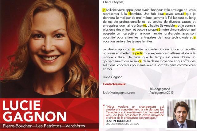 Dépliant publicitaire envoyé par la candidate libéraleLucie Gagnon... (Photo La Presse)