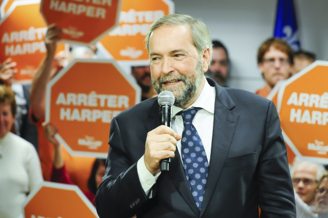 Thomas Mulcair croit avoir enfin trouvé le talon... (Photo Le Quotidien, Gimmy Desbiens)