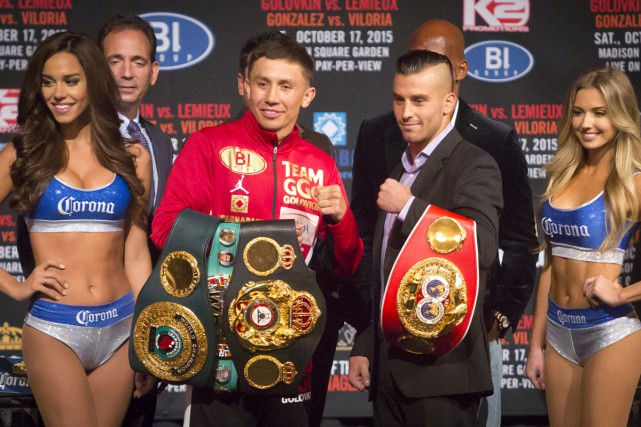 Gennady Golovkin (à gauche) et David Lemieux s'affronteront... (Associated Press)