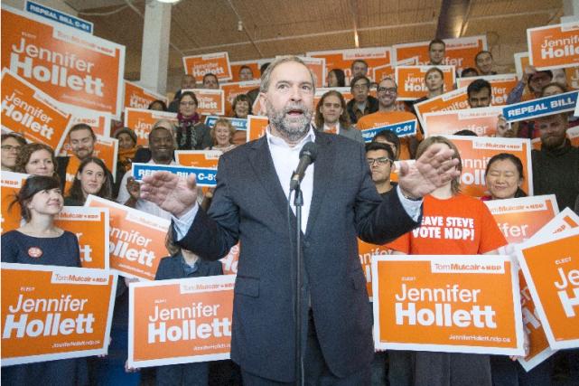 Jusqu'au jour du scrutin, Thomas Mulcair a continué... (La Presse Canadienne)