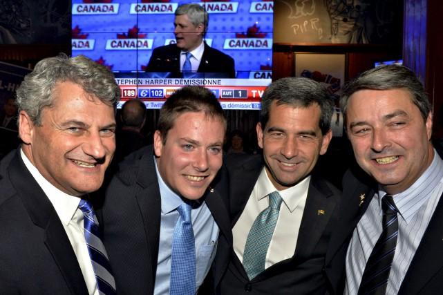 Les conservateurs Gérard Deltell, Alupa Clarke, Pierre Paul-Hus,... (Le Soleil, Pascal Ratthé)