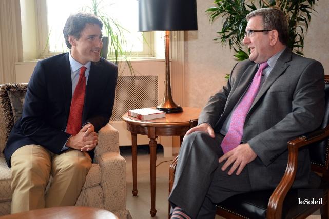 Justin Trudeau a rencontré Régis Labeaume à Québec... (Photothèque Le Soleil, Erick Labbé)