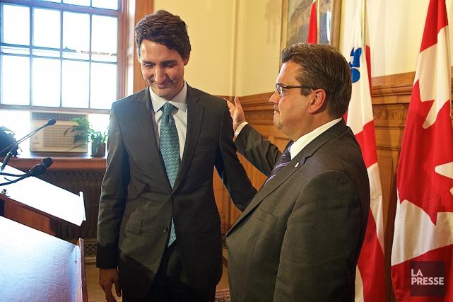 Justin Trudeau accompagné de Denis Coderre lors d'une... (Photo André Pichette, archives La Presse)