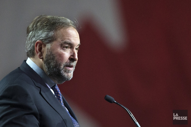 Le chef du NPD, Thomas Mulcair, lors de... (PHOTO ROBERT SKINNER, LA PRESSE)