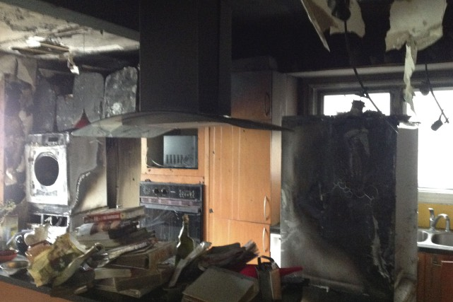 La cuisine de Nathalie et Jacques après l'incendie... (Courtoisie)