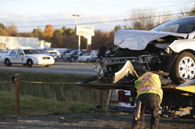 Une collision sur la rue Principale à Granby,jeudi... (Julie Catudal)