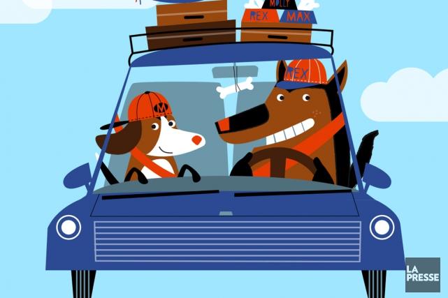 Les voyageurs nord-américains sont plus enclins que jamais à inclure leur chien... (Illustration Julien Chung, La Presse)