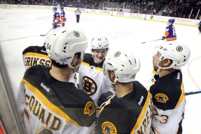 David Pastrnak a brisé l'égalité en fin de deuxième vingt et les Bruins de... (Photo USA Today Sports)
