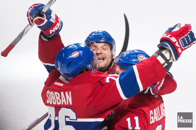 Brendan Gallagher,Andrei Markov et P.K. Subban célèbrent un... (La Presse Canadienne)
