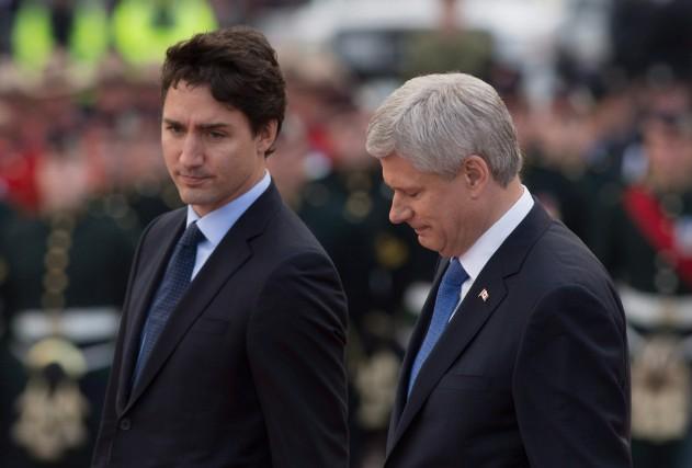 Le premier ministre désigné Justin Trudeau et le... (PHOTO SEAN KILPATRICK, LA PRESSE CANADIENNE)