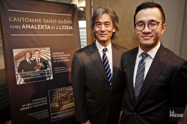 Kent Nagano et le soliste albertain Andrew Wan,... (PHOTO ANDRÉ PICHETTE, LA PRESSE)