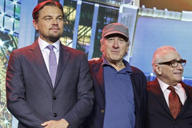 Leonardo DiCaprio, Robert De Niro et Martin Scorsese.... (PHOTO AP)