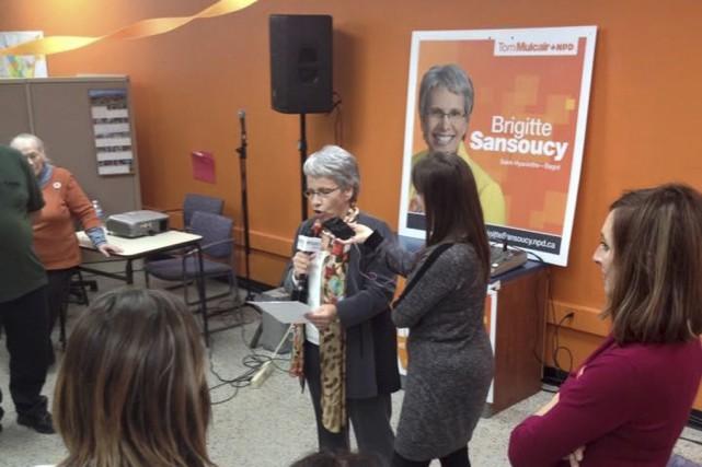 Brigitte Sansoucy, députée néo-démocrate de Saint-Hyacinthe-Bagot, pendant la... (Fournie)