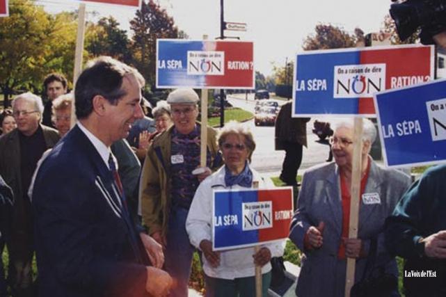 Daniel Johnson, chef de la campagne du «non»,... (Archives La Voix de l'Est)