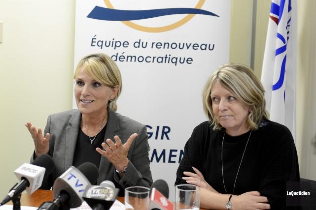 Josée Néron et Christine Boivin ont dévoilé les... (Photo Le Quotidien, Jeannot Lévesque)