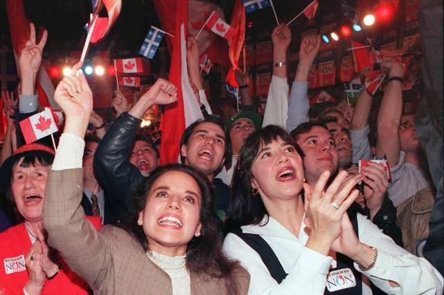 Des partisans du Non réagissent au résultat du... (Archives, La Presse Canadienne)