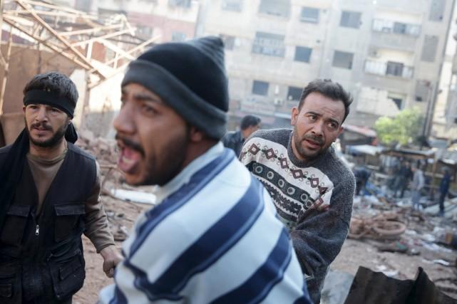 Vendredi matin, le tir par les forces du... (PHOTO BASSAM KHABIEH, REUTERS)