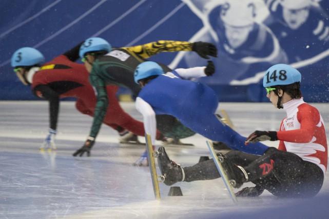 Charle Cournoyers'est ressaisi au 500 m après avoircommis... (Photo Graham Hughes, PC)