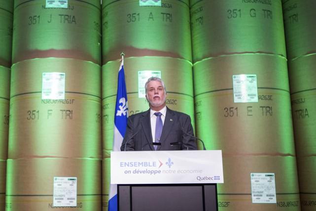 Le premier ministre Philippe Couillard lors de son... (Olivier Croteau)