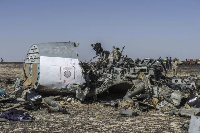 Les débris de l'appareil sont éparpillés sur 20... (AFP, Khaled Desouki)