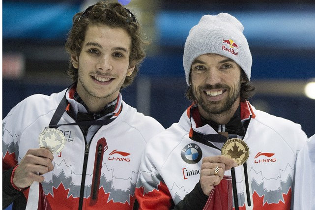 Samuel Girard et Charles Hamelin ont terminé 2e... (Photo PC)