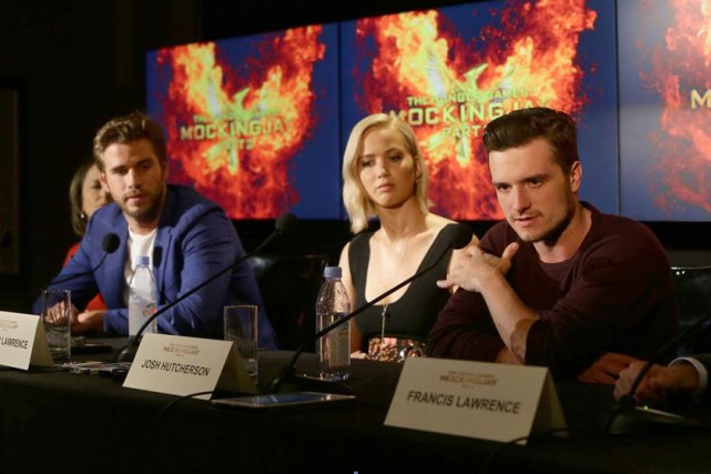 La bande de The Hunger Games en conférence... (PHOTO FOURNIE PAR LIONSGATE FILMS)